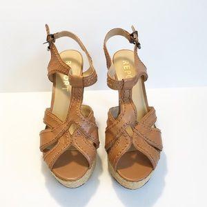 REPORT Women's Sz. 11 Tan High Heel Wedge Sandals